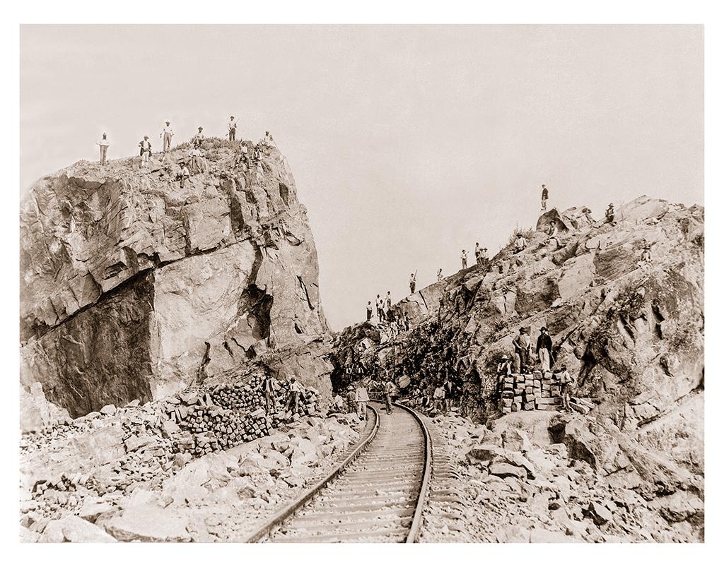 Искърското дефиле при Курило. Строеж на железопътна линия, 1900-1910 г. ©Георг Волц